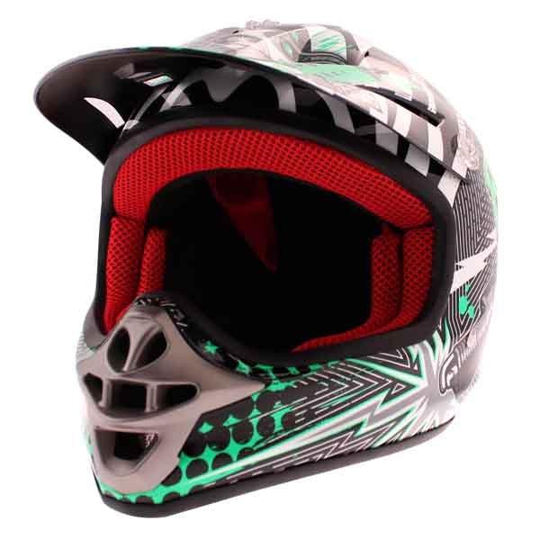 BKS 303 Piston Kids MX Green Helmet Front Left