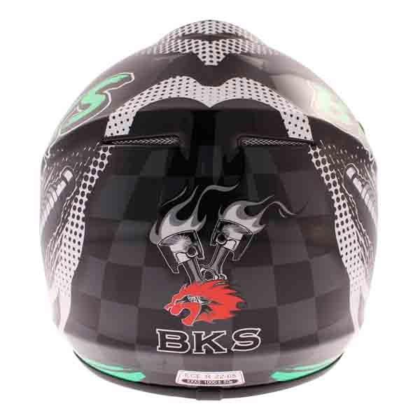 BKS 303 Piston Kids MX Green Helmet Back