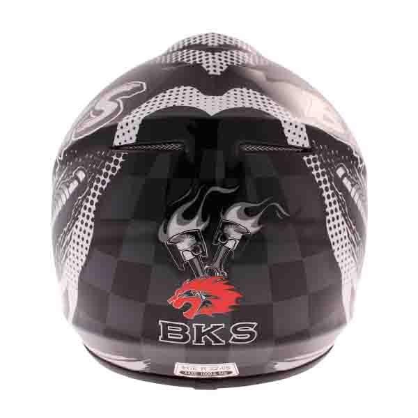 BKS 303 Piston Kids MX Silver Helmet Back