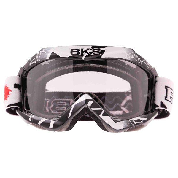 BKS Adult MX Black Goggles Front