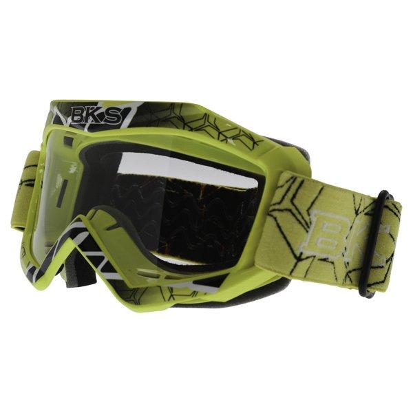 BKS Kids Yellow Motocross Goggles Front Left