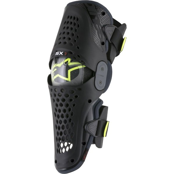 Alpinestars SX-1 Black Grey MX Knee Guards Front