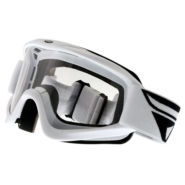 Fly Racing Focus White Goggles Front Left