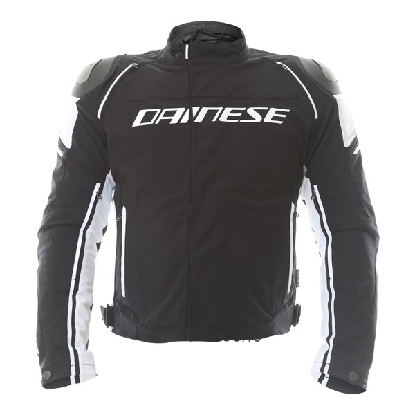 Dainese Racing 3 D-dry Mens Black White Waterproof Textile Motorcycle Jacket Front