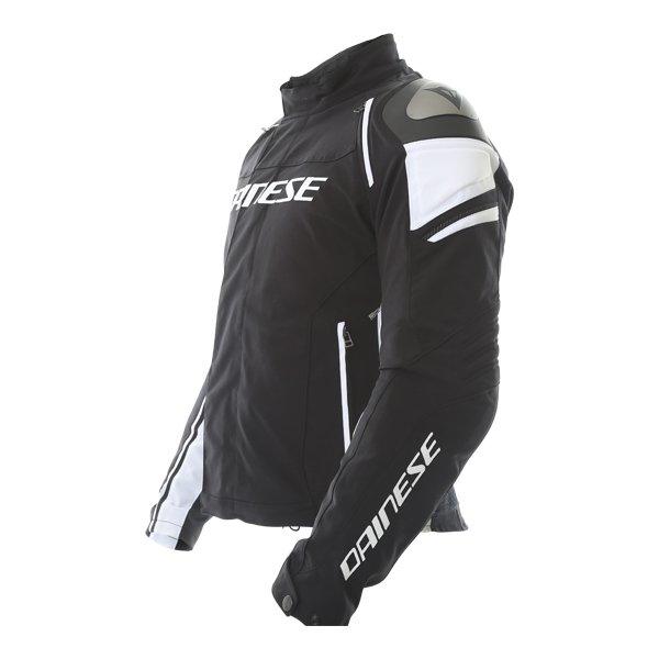 Dainese Racing 3 D-dry Mens Black White Waterproof Textile Motorcycle Jacket Side