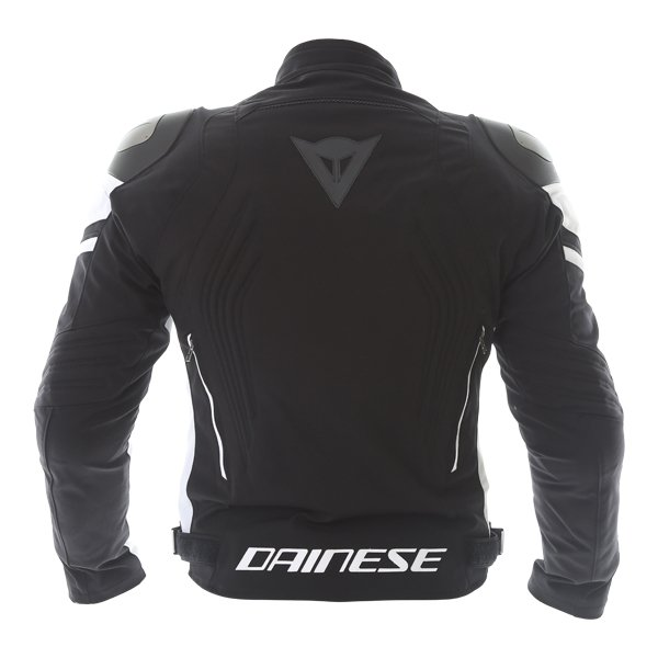 Dainese Racing 3 D-dry Mens Black White Waterproof Textile Motorcycle Jacket Back