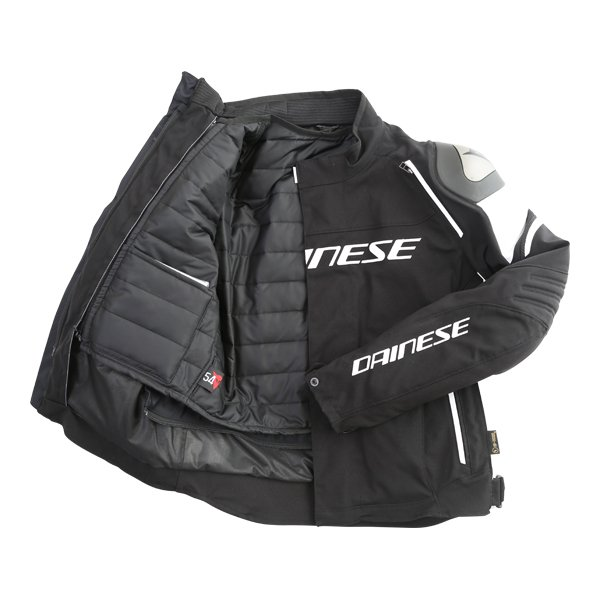 Dainese Racing 3 D-dry Mens Black White Waterproof Textile Motorcycle Jacket Inside