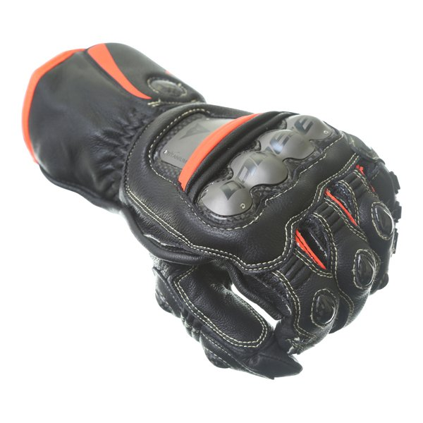 Dainese Full Metal 6 Black Fluo Red Motorcycle Gloves Knuckle