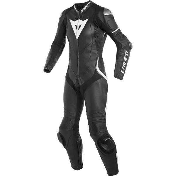 Dainese Laguna Seca 4 Lady Womens Black White Leather Motorcycle 1-Piece Suit Front