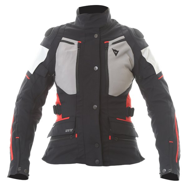 Dainese Carve Master 2 Ladies Black Grey Frost Red Goretex Waterproof Textile Motorcycle Jacket Front