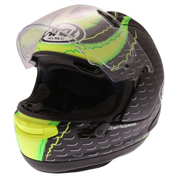 Arai RX7-V Crutchlow Yellow Full Face Motorcycle Helmet Open Visor