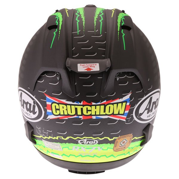 Arai RX7-V Crutchlow Yellow Full Face Motorcycle Helmet Back
