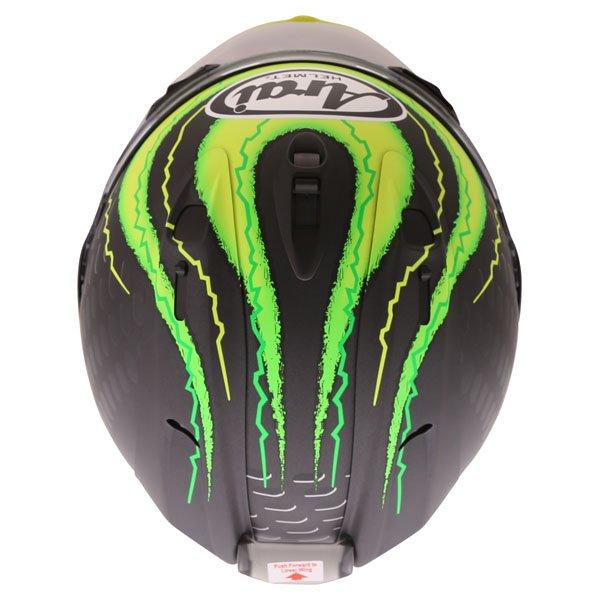 Arai RX7-V Crutchlow Yellow Full Face Motorcycle Helmet Top