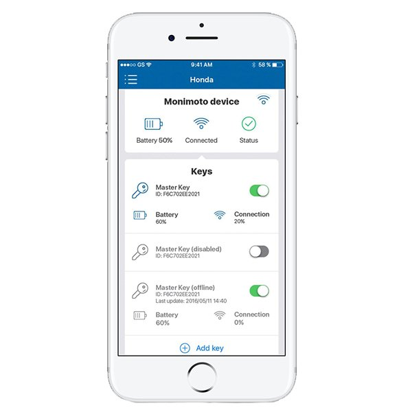 Monimoto GPS Alarm System Smartphone Screen