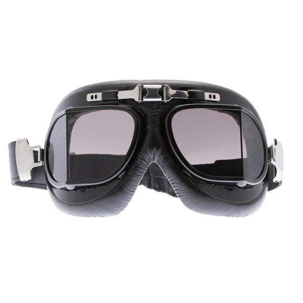 Bike It Classic Black Aviator Goggles Front