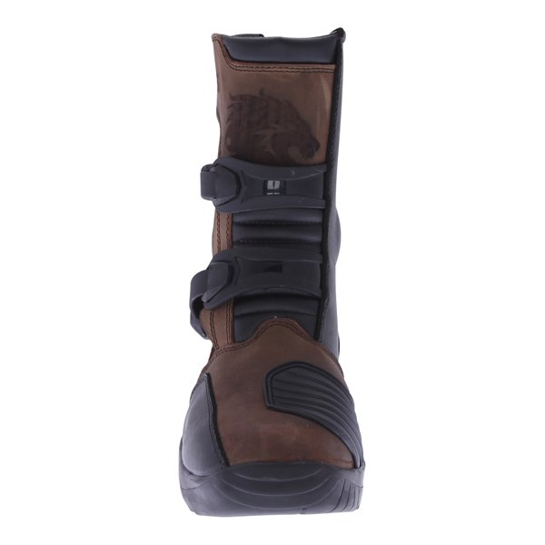 BKS PS-038W Short Brown Adventure Motorcycle Boots Front