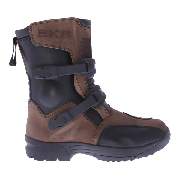 BKS PS-038W Short Brown Adventure Motorcycle Boots Outside leg
