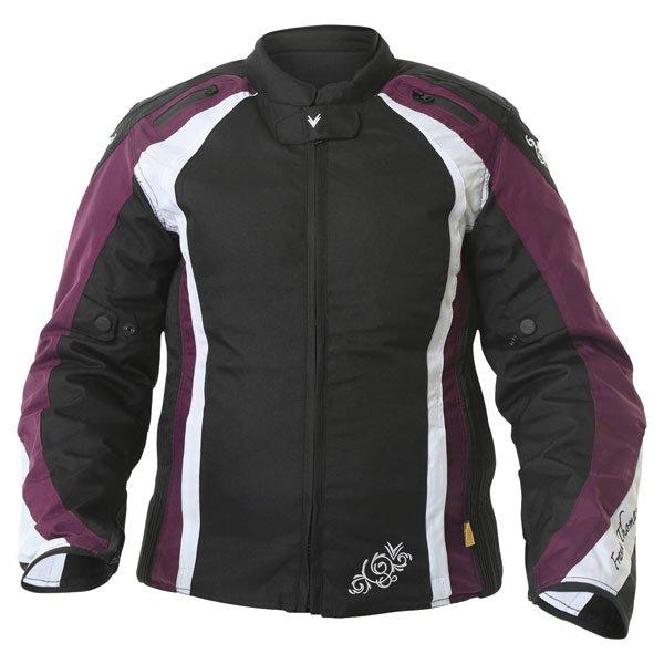 Frank Thomas FTW343 Venus Sport Ladies Black Purple White Waterproof Textile Motorcycle Jacket Front