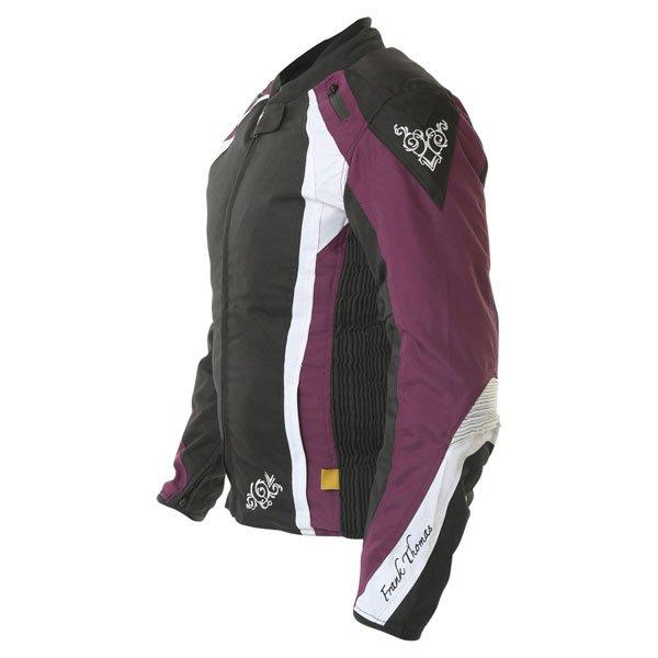 Frank Thomas FTW343 Venus Sport Ladies Black Purple White Waterproof Textile Motorcycle Jacket Side