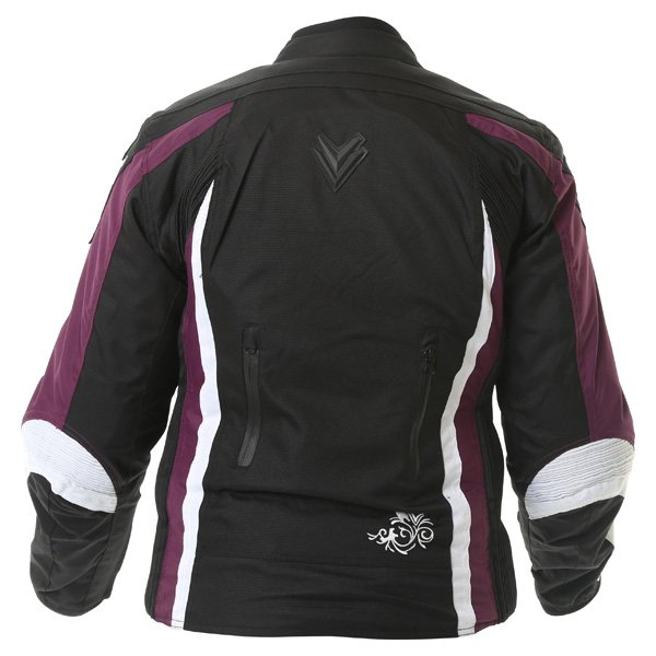 Frank Thomas FTW343 Venus Sport Ladies Black Purple White Waterproof Textile Motorcycle Jacket Back