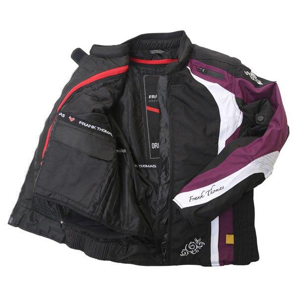 Frank Thomas FTW343 Venus Sport Ladies Black Purple White Waterproof Textile Motorcycle Jacket Inside