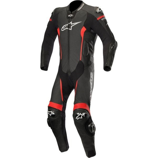 Alpinestars Missile Tech Air Compatible Black Red Leather Motorcycle 1-Piece Suit Front