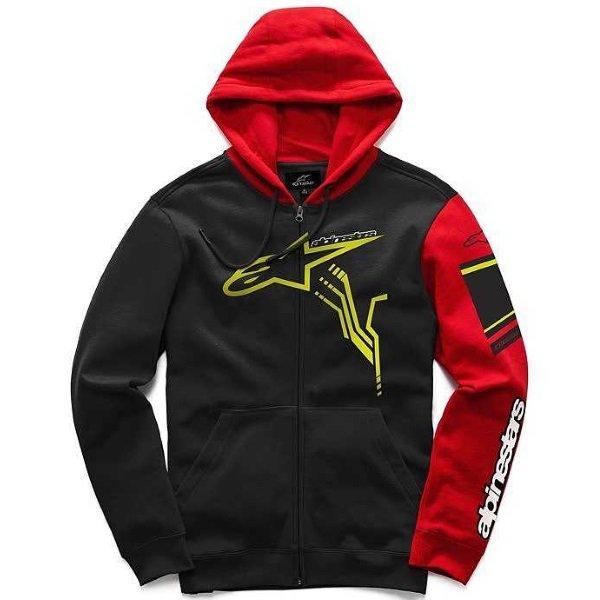 Alpinestars GP Plus Mens Black Red Fleece Hoodie Front