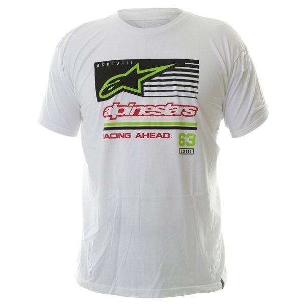 Alpinestars Back Straight Mens White T-Shirt Front
