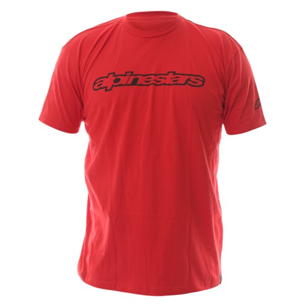 Alpinestars Wordmark Mens Red T-Shirt Front
