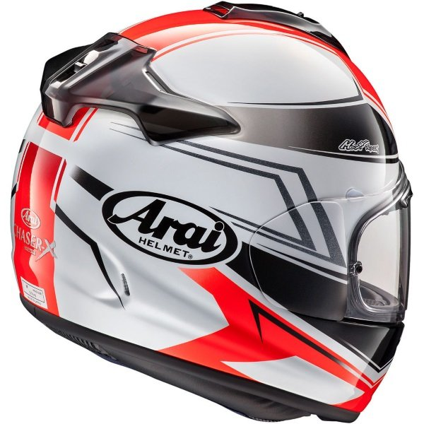 Arai Chaser-X Shaped Grey Red Black Full Face Motorcycle Helmet Back Right