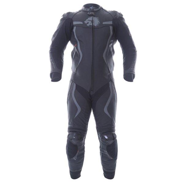 BKS Evolution Pro Black Leather 1-Piece Motorcycle Suit Front