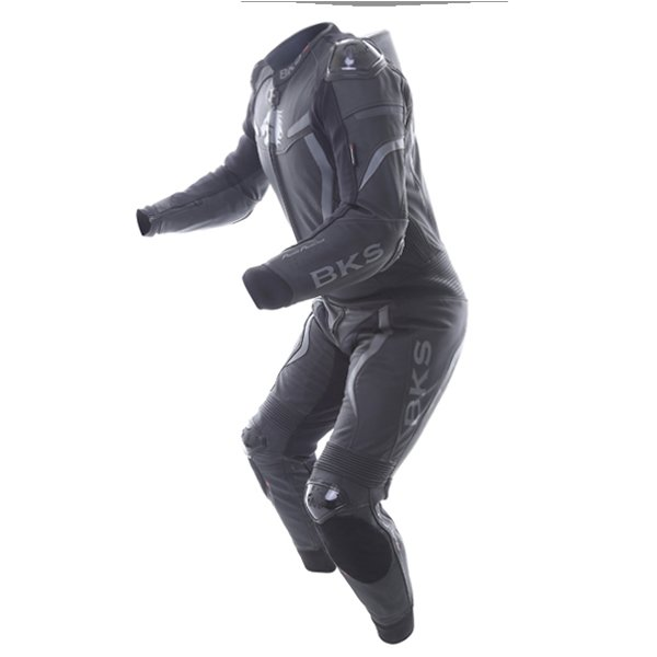 BKS Evolution Pro Black Leather 1-Piece Motorcycle Suit Racing crouch