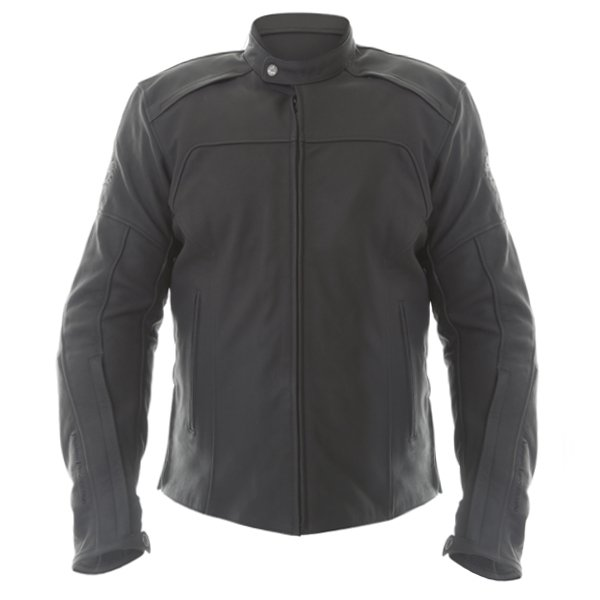 BKS Shadow Black Leather Motorcycle Jacket Front
