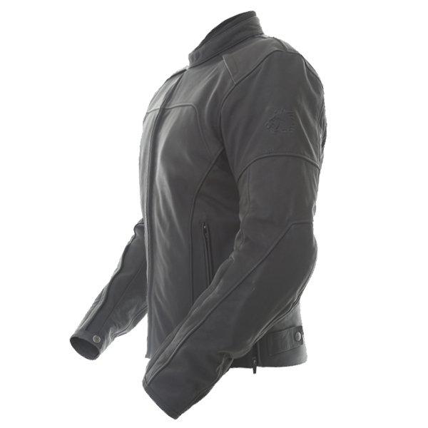 BKS Shadow Black Leather Motorcycle Jacket Side
