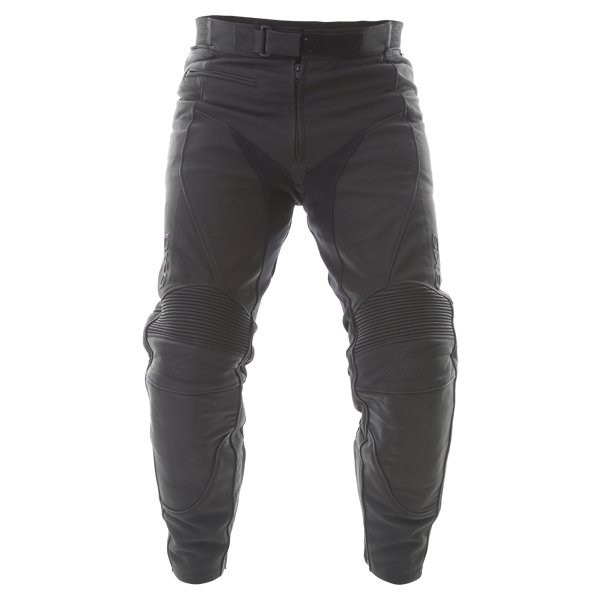 BKS Shadow Ladies Black Leather Motorcycle Jeans Front