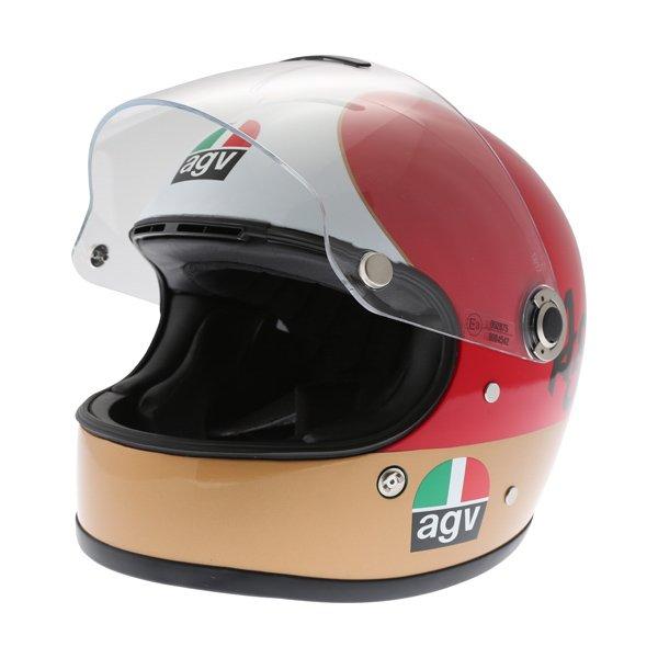 AGV X3000 AGO 01 Green White Red Full Face Motorcycle Helmet Open Visor