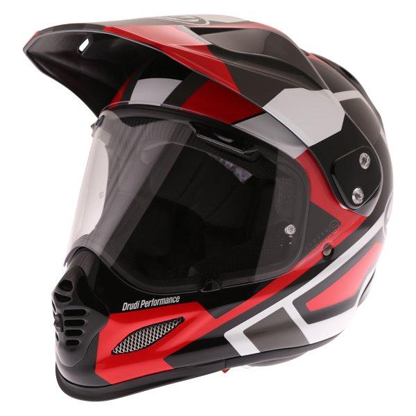 Arai Tour-X4 Catch Red Adventure Motorcycle Helmet Front Left