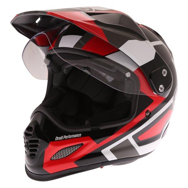 Arai Tour-X4 Catch Red Adventure Motorcycle Helmet Open Visor