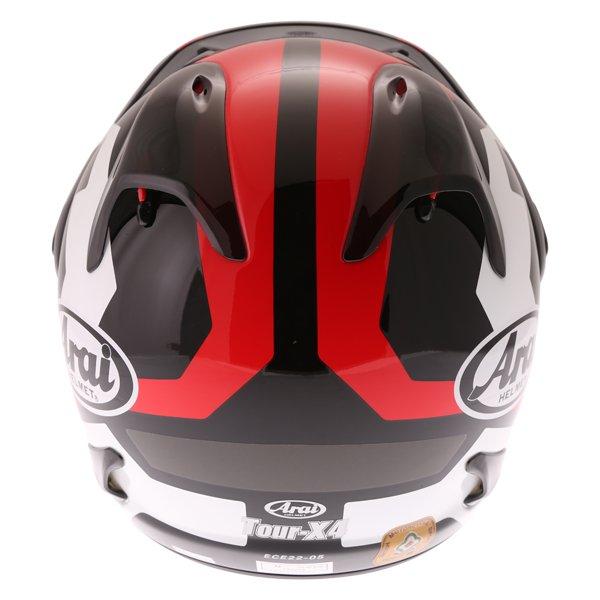 Arai Tour-X4 Catch Red Adventure Motorcycle Helmet Back