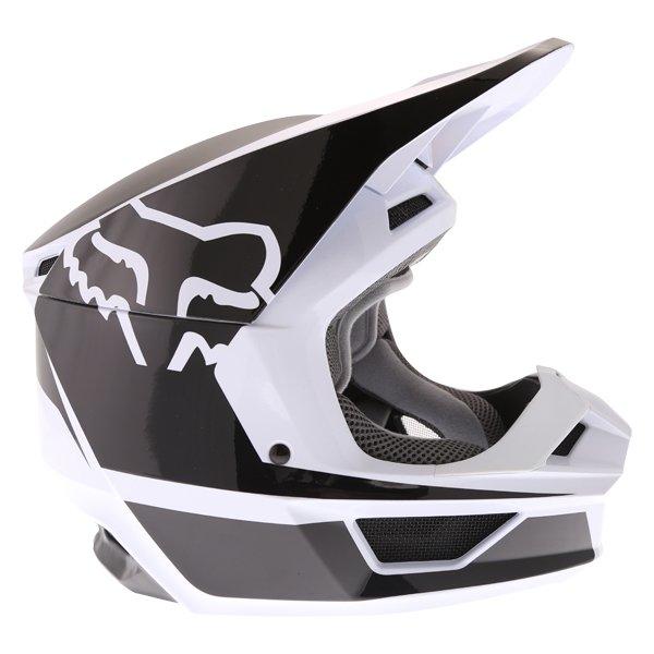 Fox V1 Przm Black White Motocross Helmet Right Side