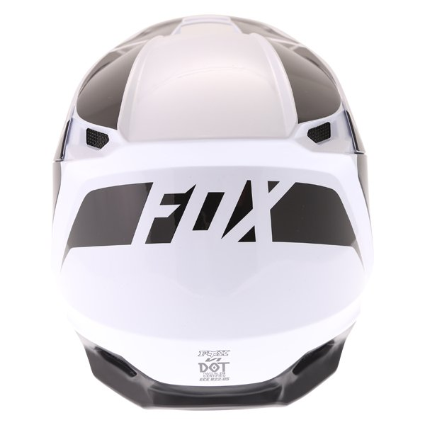 Fox V1 Przm Black White Motocross Helmet Back
