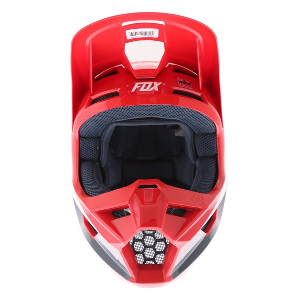 Fox V1 Przm Navy Red Motocross Helmet Front