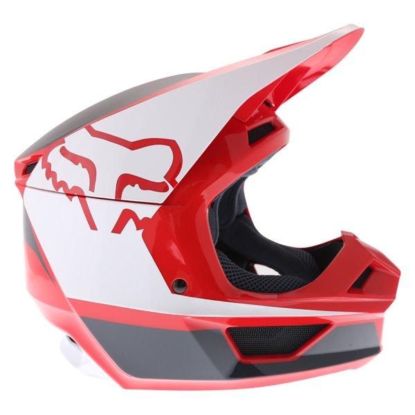 Fox V1 Przm Navy Red Motocross Helmet Right Side