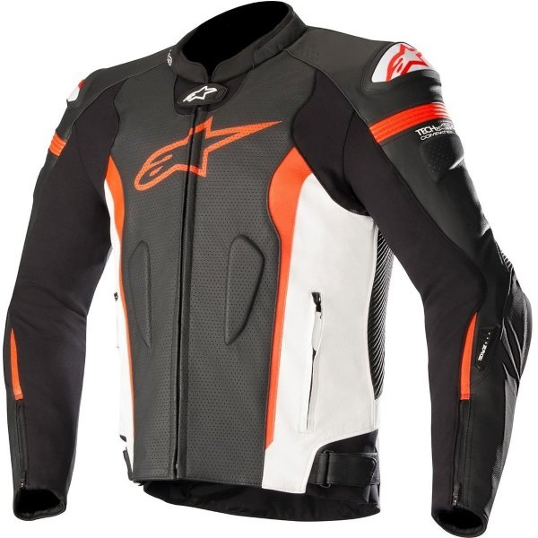 Alpinestars Missile Tech Air Compatible Black White Red Flo Leather Motorcycle Jacket Front
