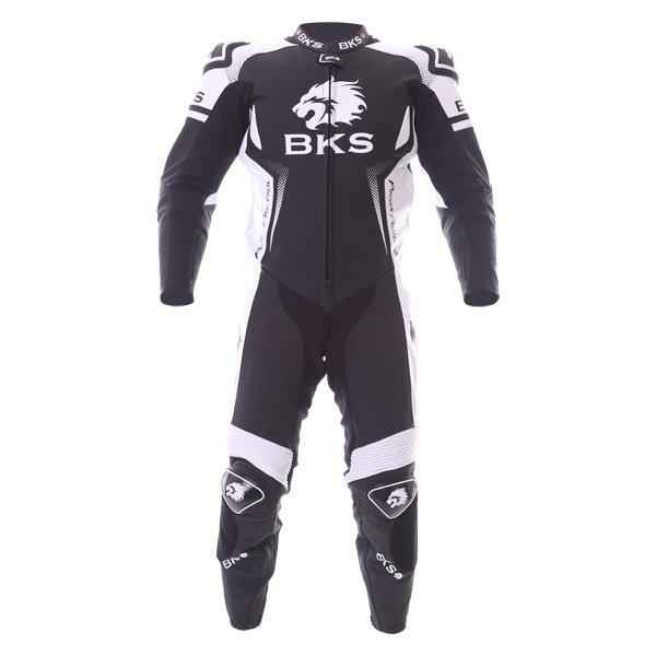 BKS Apex 1 Piece Black White Leather Motorcycle Suit Front