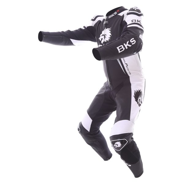 BKS Apex 1 Piece Black White Leather Motorcycle Suit Racing crouch