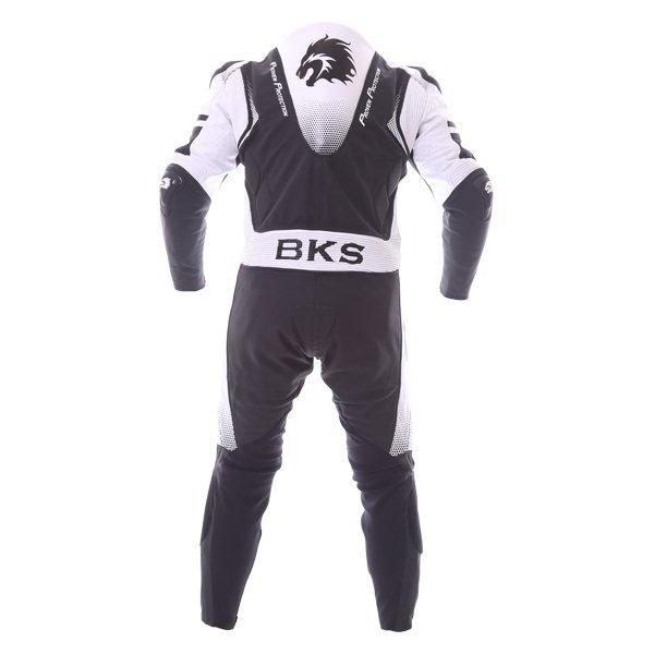 BKS Apex 1 Piece Black White Leather Motorcycle Suit Back