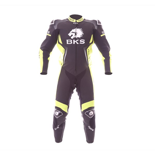 BKS Apex 1 Piece Black Fluo Yellow Leather Motorcycle Suit Front