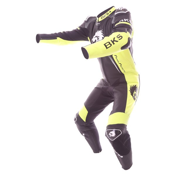 BKS Apex 1 Piece Black Fluo Yellow Leather Motorcycle Suit Racing crouch