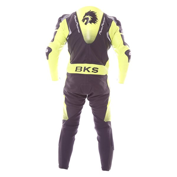 BKS Apex 1 Piece Black Fluo Yellow Leather Motorcycle Suit Back